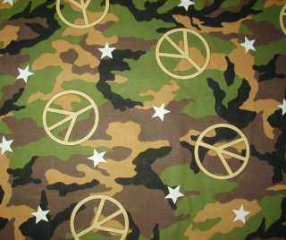 PEACE SIGN ARMY CAMO NURSE & VET SCRUB TOP