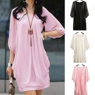 Fashion Women Lady Graceful Gentle Womanly Chiffon Sleeve Show Thin
