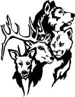 Animal Assortment Vinyl Sticker Decal Hunting wolf mountain lion deer