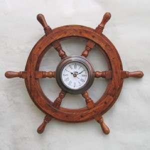 Locomotive Train Engine Clock 18 Teak Wood Steering Wheel Wall Decor
