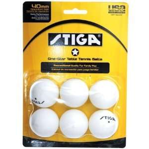 Stiga One Star White 6 Pack Table Tennis Balls