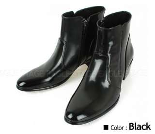 New Mens Two Men Side Zip Dress Leather Ankle Boots