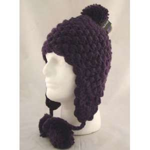 Hand Knit Purple Crochet Ear Flap Pom Trooper Beanie Hat