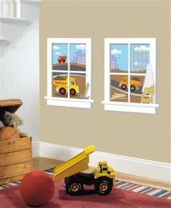 New Peel & Stick CONSTRUCTION WINDOWS WALL DECALS Dump Trucks Stickers