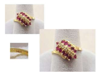 14K Yellow Gold Cocktail Ring ~ RUBY Rubies & Diamonds Size 6.5