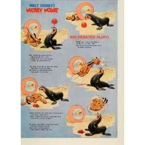 Pluto Walt Disney Mickey Mouse Seal   Original Color Print Home