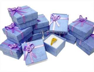 24 Wholesale Lot Purple Paper Ring Gift Box Case