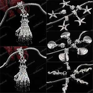 SILVER BIG HOLE EUROPEAN CHARM BEADS PENDANT FIT BRACELET WHOLESALE