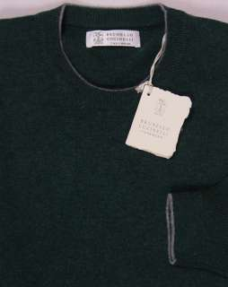 BRUNELLO CUCINELLI SWEATER HUNTER GREEN 100%CASHMERE CREWNECK JUMPER