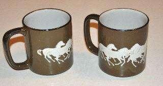 LOT 2 VINTAGE OTAGIRI ORIGINAL HORSE COFFEE CUPS MUGS JAPAN HAND