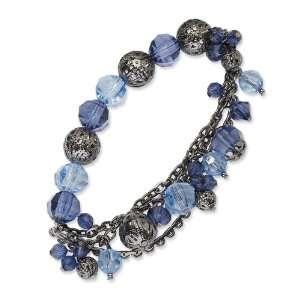 Silver tone Light & Dark Blue Crystal Stretch Bracelet Jewelry
