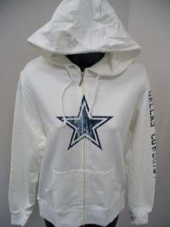 Dallas Cowboys Womens Giant Logo F/Z Hood White XXLarge