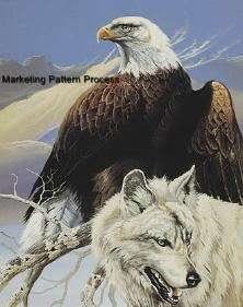 Eagle & Wolf Cross Stitch Pattern Native American