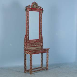 Antique Red Painted Romanian Mirror/Hall Stand