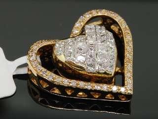 LADIES 14K YELLOW GOLD .98C DIAMOND HEART CHARM PENDANT