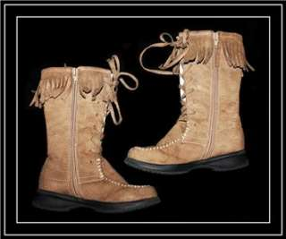 Lamour ~ Girls Nubuck Brown Fringe Boots   Lace Ties & Zipper ~ 11