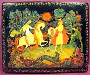 Kholui Russian Lacquer Box Fairy Tale Soviet Era 1970s Gold Horse