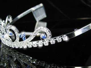 A123 11 Blue Pearl Wedding Bridal Bridesmaid Swarovski Crystal