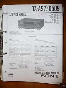 Service Manual Sony TA A57/D509 Amplifier,ORIGINAL