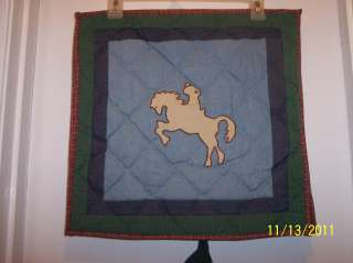 Patch Magic Quilted Pillow Sham Western Cowboy Riding Horse Silhouette