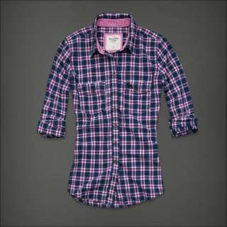 NWT Abercrombie Fitch Women Cami Navy Pink White Plaid Button Down