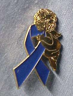 Blue Child Abuse Awareness Ribbon Angel Pin Tac New