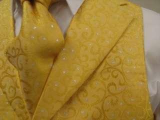 Mens Suit Tuxedo Dress Vest Necktie Bowtie Hanky Set Gold Yellow