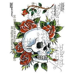 Hardy   Skull Head & Long Stem Rose Tattoo, 4 X 3 Office Products