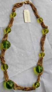 Ann Taylor Antiqued Gold Green Crystal Bead Necklace