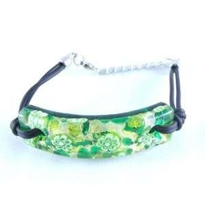 Green Gold Venetian Murano Glass Bracelet Jewelry