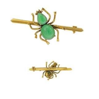 NATURAL COLOR APPLE JADE 14K GOLD Spider ANTIQUE 1800s BROOCH PIN