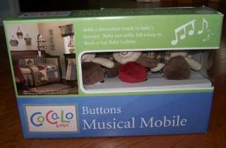 COCALO BABY BUTTONS MUSICAL MOBILE TEDDY BEARS NEW