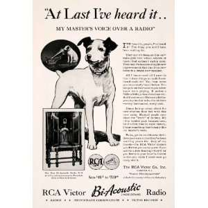 1932 Ad Antique RCA Victor Bi Acoustic Radio Nipper Dog