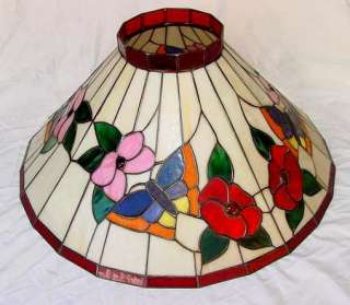 VINTAGE LEADED STAIN GLASS POOL BAR HANGING LAMP SHADE SHADES LIGHTING