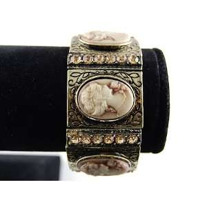 Cameo Lady Antique Gold Inspired Topaz Crystal Rhinestone Cuff Bangle