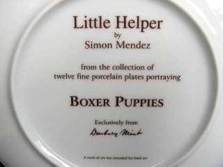 DANBURY MINT BOXER DOG PUPPY PLATE LITTLE HELPER PUP