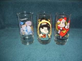 1986 Collector Glasses Alvin Chipmunks ET Flintstone Kids Pizza Hut+