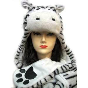 Plush Zebra Animal Hat   Zebra Hat with Ear Flaps and Hand