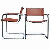 Mid Century Modern Mart Stam Leather Arm Chairs