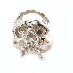 Rare Unusual Heavy 20G Solid Sterling Silver Hand Carved Smashed Skull