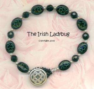 Unique IRISH Shamrock Celtic Knot Button BRACELET Black/Green