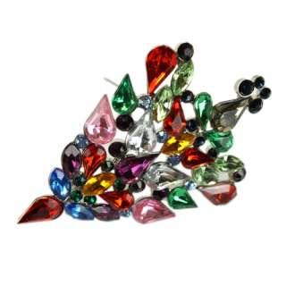 Colorful Christmas Tree Shaped Crystal Brooch Pin