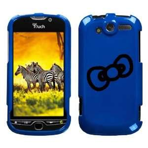 HTC MYTOUCH 4G BLACK BOW OUTLINE ON A BLUE HARD CASE COVER