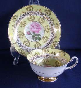 Royal Grafton English Bone China Yellow Pink Rose Gold Trim Footed Cup