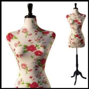 FEMALE DECORATIVE DRESS FORM MANNEQUIN PRINT FABRIC FLOWER