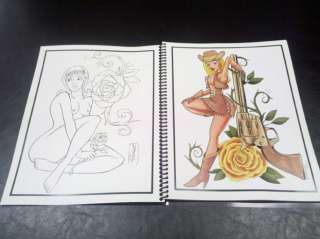 PIN UP TATTOO ART FLASH BOOK COLOR W LINES