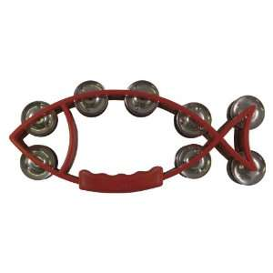 Instr Tambourine Fish Shape Red (11x5) Musical Instruments