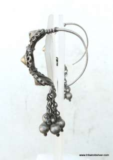 VINTAGE ANTIQUE TRIBAL OLD SILVER & GOLD GILDED EARRING