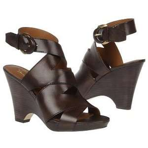 Franco Sarto Womens Naomi Dark Brown Leather Wedge Sandal