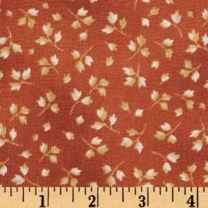 44 Wide Keiko Leaves Burnt Orange/Maize Fabric By The